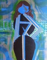 Original Contemporary  Modernist Painting of a Lady, Girl, Woman