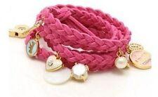 Ladies Girls Bracelet Braid Leather Charm Wristband Anklet Rope Dangle Pendant