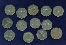 G.B./U.K/ENGLAND 50 NEW PENCE COINS: 1969, 1970, 1973, 1976, 1977, 1978, 1980,..