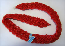 VINTAGE RED GLASS SEED BEAD NECKLACE ITALY BEADS FLAT BRAID