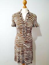 Karen Millen Brown And Cream Zebra Print Shirt Dress Size 10