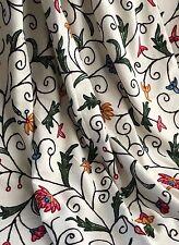 "Crewel work Interlined Single Door Curtain 50""w 100""d Wool Embroidered Cream MTM"