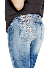 $138 GUESS Jeans Rhinestones Embroidered Skinny Low Rise Denim Pants Size 27 NWT