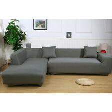 2Pcs Dark Gray Sofa Cover Couch Slipcover Gray for L 3+3 Seater Sectional Corner