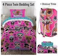 LOL Surprise Doll 5 Pc Twin Bedding Bed Bag Comforter Sheet Set Pillowcase Tote