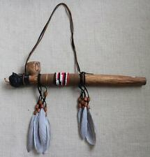 WOODEN BEAR PEACE PIPE W FEATHERS new beads wall decoration wild animal wood