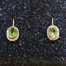 Oval Peridot Tiny Diamond Leverback Dangle Earrings 14k Yellow Gold over Base