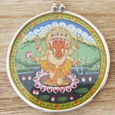Anhänger Amulett Indien Silber 925 Ganesha Miniaturmalerei 5,5 cm groß
