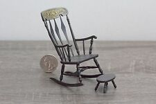 Dollhouse miniature rocking chair and footstool