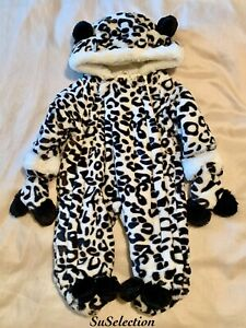 BABY BOY GIRL BLACK WHITE LEOPARD PRINT FAUX FUR SNOWSUIT-PRAM SUIT-3/12 MONTHS