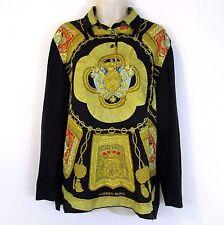 Vintage Hermes Paris Womens M Scarf Sweater Shirt Silk Cotton Cashmere Blouse