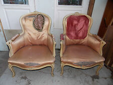 ANCIENNE PAIRE DE FAUTEUILS BERGERES DE STYLE LOUIS XV/OLD PAIR OF ARMCHAIRS