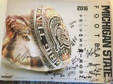 2016 Michigan State Spartans team signed autograph football poster MSU