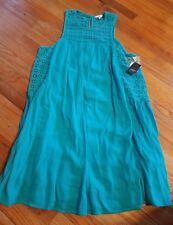 New~ Crown & Ivy Turquoise Paradise 2 Women  Gauzey Eyelet Trim Dress XL X Large