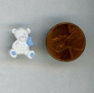 """Miniature Dollhouse White Teddy with blue bow and paddies Stands alone 5/8"""" H"""