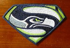 Iron On Sew On Patch Seattle Seahawks Superman Lt Green Embroidered Embroidery