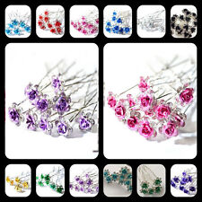 20PCS Horquilla De Pelo Cristal Diamante Rose Flor Clip Pinza Cabello jghv