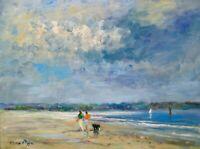 AskArt Listed Artist Nino Pippa Original Oil Painting South Florida Beach Scene