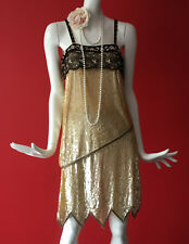 River Island Vintage Look Beaded Sequin Flapper Gatsby 1920s Dress Size 8 BNWT