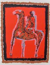 "MARINO MARINI ""LE CHEVALIER"" 1955 Plate Signed Silkscreen Horse Rider Art"
