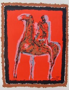 Marino Marini LE CHEVALIER 1955 Plate Signed Lithograph Horse Rider Art