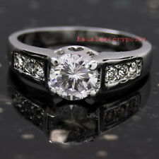 Women's Classic 18k White Gold Plated Wedding Bridal Engagement Ring Size 9 R5