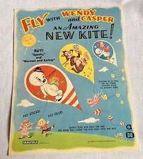 1960s Casper & Wendy Paper Kite Kit Vintage Saalfield Harvey Cartoons