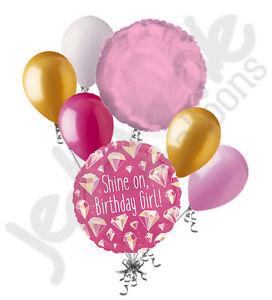 7 pc Hot Pink Birthday Girl Shine On Balloon Bouquet Party Decoration Diamonds