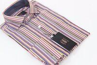 NWT- Verse 9 British Spread Collar & French Cuff-Orange Multi Stripe Dress Shirt