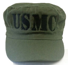 **USMC TEXT** FLAT TOP CADET MILITARY ARMY OLIVE GREEN CAP HAT FREE SHIPPING USA
