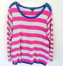 Tommy Hilfiger Hot Pink striped 100% Cotton sweater Women's 1X buttons preppy