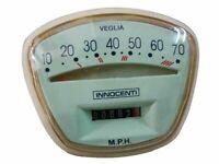 LAMBRETTA SPEEDOMETER/Tachometer/CONTACHILOMETRI LI TV SERIES 3 70 MPH VEGLIA