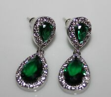 Green Cubic Zirconia 18Ct Gold Plated Stud Drop High Quality Earrings UK