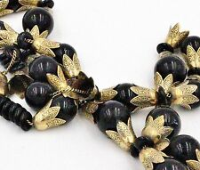 """Vintage Art Deco Black Glass Bead Etched Conical Cone Findings Necklace 20"""" Long"""