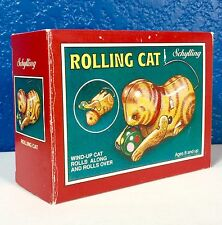 Schilling Wind-Up Rolling Cat, Rolls Along & Rolls Over, Tin Type Collector Toy