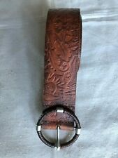 VINTAGE ESPRIT COW LEATHER BEL Hand Finished BROWN  ROUND BUCKLE SZ 36