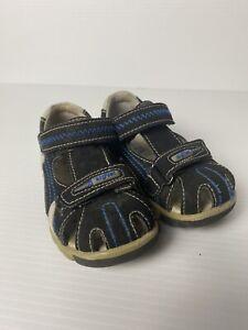 Airflex Boys Size 5 Navy Leather Sandals Rubber Sole Contour Sole Comfort