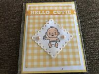 Baby Birth Shower Card Yellow Gingham Cutest Baby For Either Sex. Pearls Handmad