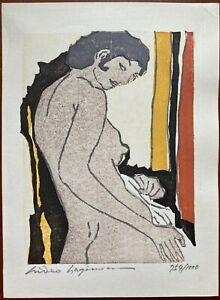 Hideo HAGIWARA Japanese Woodblock Print Nude Woman Signed Numbered