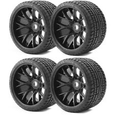 Sweep Road Crusher Belted Monster Truck Tires on Black Wide Offset Rims SRC1001B
