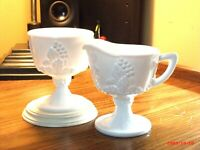 Vintage Indiana Colony Harvest Grape Pattern Milk Glass Creamer and Sugar Bowl