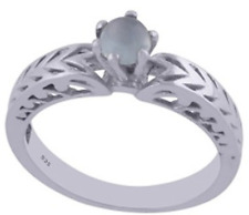 925 Sterling Silver 2.8 gm w/ Chalcedony Aqua Round Cabochon Stone Ring Size 8