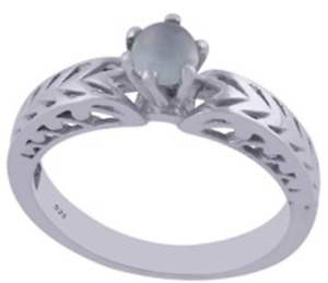 925 Sterling Silver 2.8 gm w/ Chalcedony Aqua Round Cabochon Stone Ring Size 6