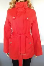 Women's Michael Kors Red Belted Zip Up Trench Coat Size M
