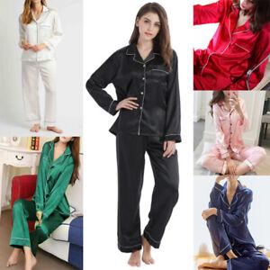 New Womens SATIN Pyjamas Set Button Up Ladies PJ Set Loungewear Size 6-16