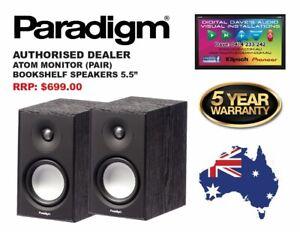 PARADIGM: ATOM MONITOR Bookshelf Speakers (PAIR) Brand New. RRP: $699