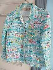 LIFE STYLE Cotton JACKET Sze PS lined sequins beads turquoise Casual ragtag look