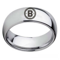 Boston Bruins NHL Team Stainless Steel Silver Men's Rings Arc Edge Band Size6-13