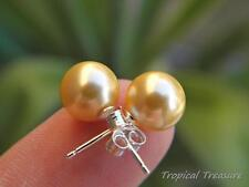 GOLD 8mm Shell Pearl Earring Studs - 925 SOLID Sterling Silver