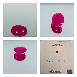 Certified Pigeon blood 2.45CT Burmese ruby natural oval cut gemstone RARE